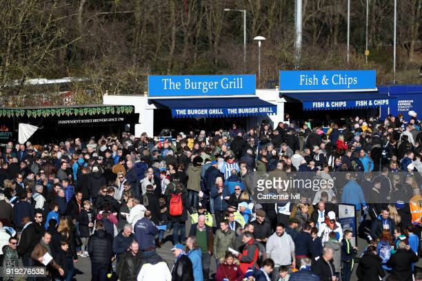 Fans enjoy the prematch atmosphere prior to the The Emirates FA Cup Fifth Round between Brighton and Hove Albion v Coventry City at Amex Stadium on...