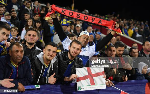 Fans enjoy the prematch atmosphere prior to the UEFA Euro 2020 Qualifier between Kosovo and England at the Pristina City Stadium on November 17 2019...