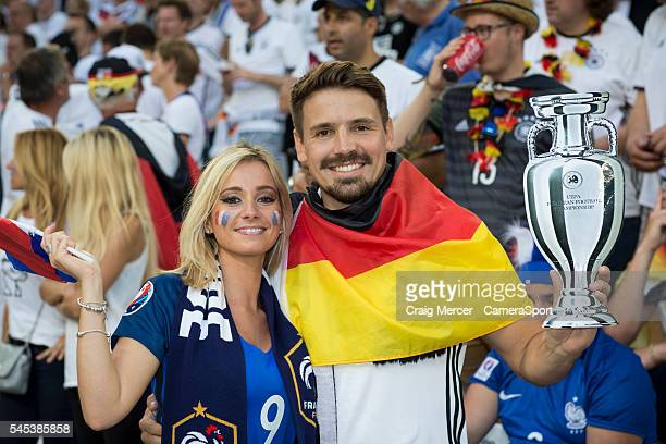 Fans enjoy the prematch build up during the UEFA Euro 2016 Semifinal match between Germany and France at Stade de Lyon on July 07 in Marseille France