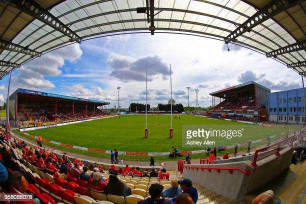 Fans enjoy the spring sunshine during round six of the Ladbrokes Challenge Cup at KCOM Craven Park on May 13, 2018 in Hull, England.