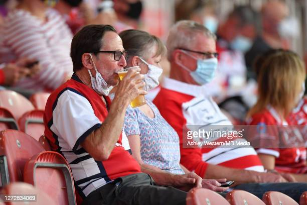 Fans enjoying a drink before the Gallagher Premiership Rugby match between Gloucester Rugby and Harlequins at Kingsholm Stadium on September 14 2020...