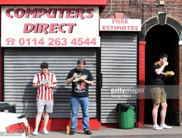 Fans enjoying chips pre match prior to the Sky Bet Championship between Sheffield United and Swansea City at Bramall Lane on August 4 2018 in...