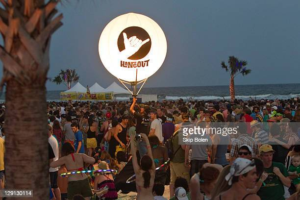 Fans enjoying live music and the beach during the 2011 Hangout Music Festival on May 20 2011 in Gulf Shores Alabama