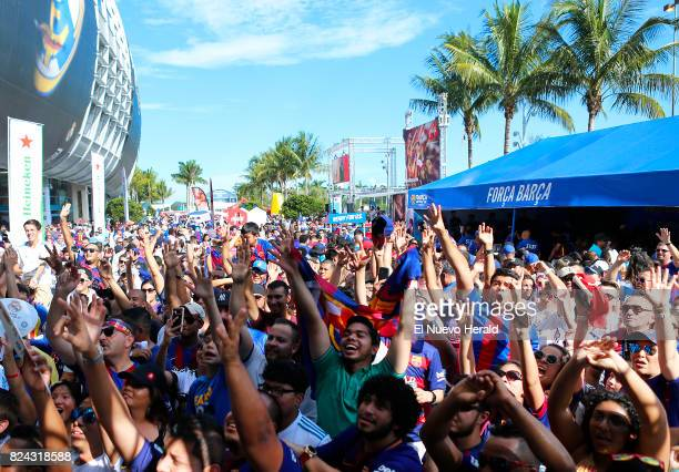 Fans enjoying the activities before the start of the ''El Clasico Miami'' match Barcelona against Real Madrid as part of the International Champions...