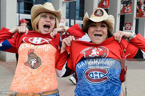 Fans enjoying the festivities prior to Game Six of the Eastern Conference Quarterfinals during the 2015 NHL Stanley Cup Playoffs at Canadian Tire...