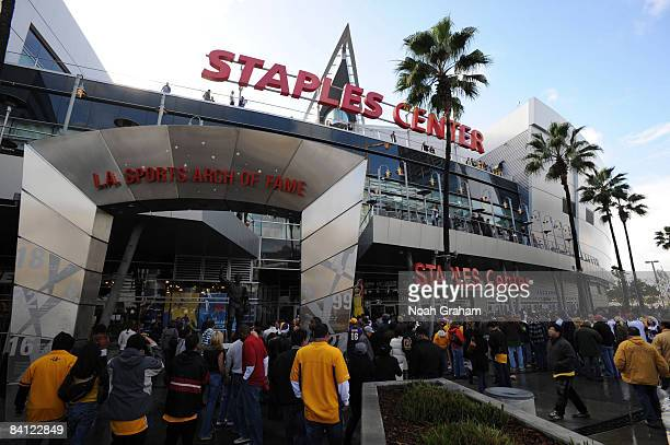 Fans enter the arena before a game between the Boston Celtics and the Los Angeles Lakers at Staples Center on December 25 2008 in Los Angeles...