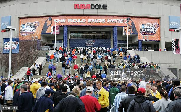 Fans enter the arena before the game between the George Mason Patriots and Florida Gators before the semifinal game of the NCAA Men's Final Four on...