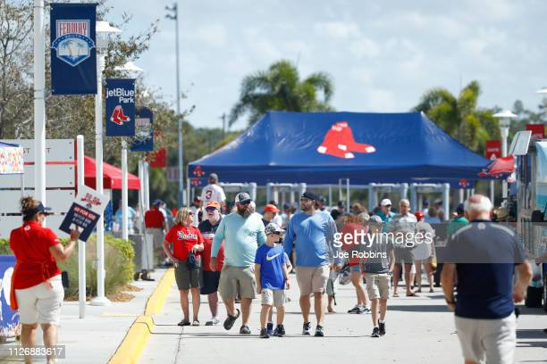 Fans enter the ball park prior to a Grapefruit League spring training game between the New York Yankees and Boston Red Sox at JetBlue Park at Fenway...