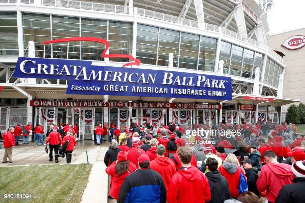 Fans enter the ball park prior to the Opening Day game between the Cincinnati Reds and Washington Nationals at Great American Ball Park on March 30...