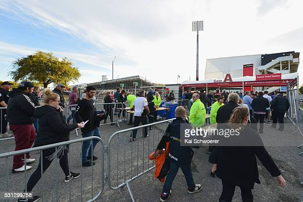 Fans enter the gates prior to the round 10 NRL match between the Penrith Panthers and the New Zealand Warriors at AMI Stadium on May 14 2016 in...