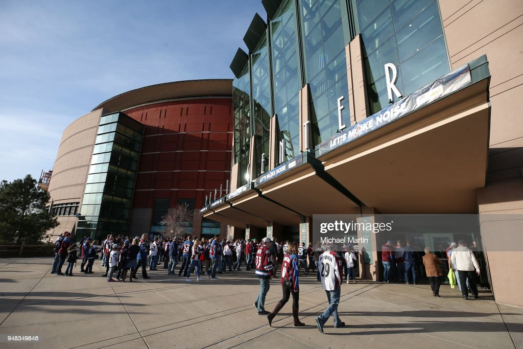 Fans enter the Pepsi Center prior to Game Four of the Western Conference First Round during the 2018 NHL Stanley Cup Playoffs between the Colorado Avalanche and the Nashville Predators on April 18, 2018 in Denver, Colorado.