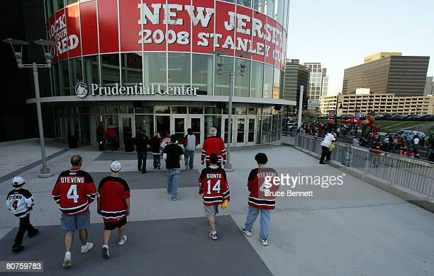 Fans enter the Prudential Center before game five of the 2008 NHL Eastern Conference Quarterfinals between the New York Rangers and the New Jersey...
