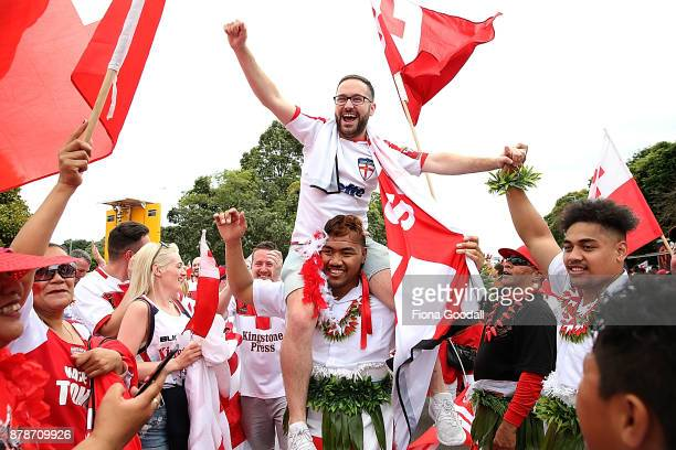 Fans enter the stadium before the 2017 Rugby League World Cup Semi Final match between Tonga and England at Mt Smart Stadium on November 25 2017 in...