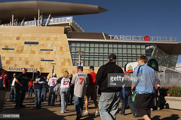 Fans enter the stadium before the game between the Minnesota Twins and the New York Yankees for game two of the ALDS on October 7, 2010 at Target...