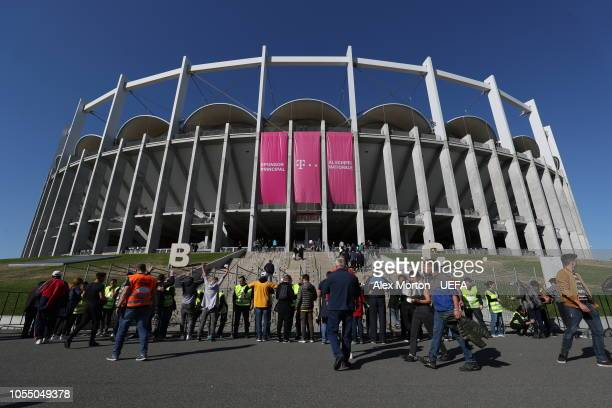 Fans enter the stadium prior to the UEFA Nations League C group four match between Romania and Serbia at the National Arena on October 14, 2018 in...
