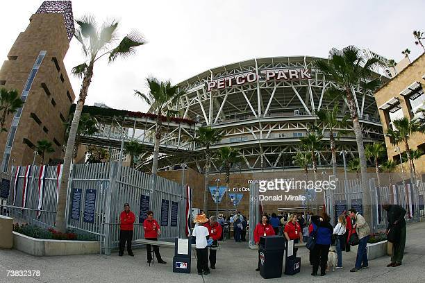 Fans enter through the turnstiles before Opening Night at Petco Park between the Colorado Rockies and the San Diego Padres on April 6, 2007 in San...