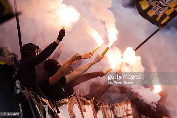 Fans f AIK during the Allsvenskan match between AIK and Kalmar FF at Friends arena on November 6 2016 in Solna Sweden