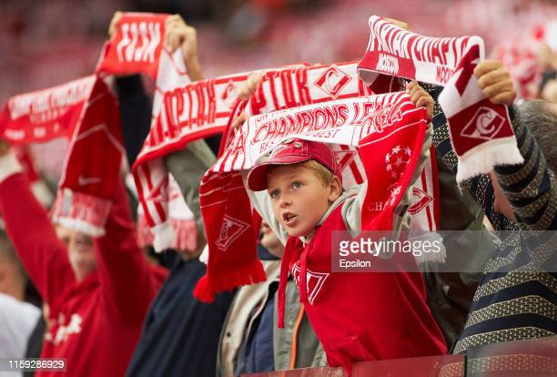 Fans FC Spartak Moscow cheer their team during the Russian Football League match between FC Spartak Moscow andFC Dynamo Moscow on August 3, 2019 in...