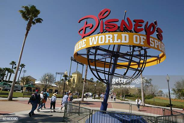 Fans file into Disney's Wide World of Sports for the MLB Spring Training game between the Los Angeles Dodgers and Atlanta Braves at Cracker Jack...