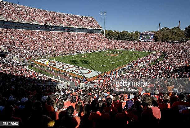 Fans fill Death Valley to watch a game between the Clemson Tigers and the Florida State Seminoles on November 12 2005 at Clemson Memorial Stadium in...