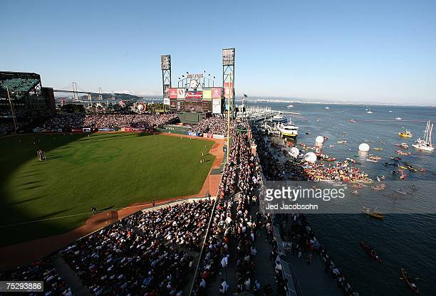 Fans fill McCovey Cove as the American League and National League All-Stars compete in the 78th Major League Baseball All-Star Home Run Derby at AT&T...