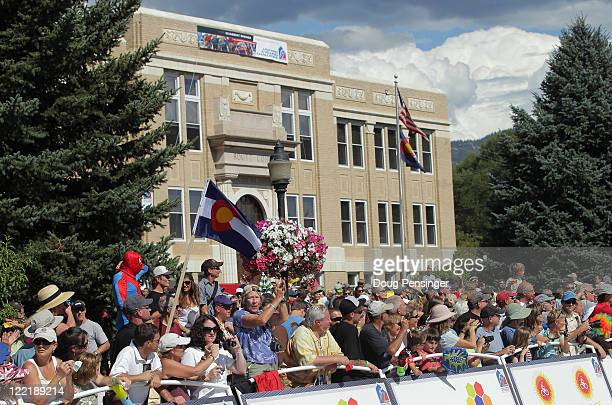 Fans fill the Routt County Court House law for the fiinish of stage four of the 2011 USA Pro Cycling Challenge from Avon to Steamboat Springs on...