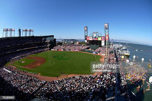 Fans fill the seats and McCovey Cove as the American League and National League All-Stars compete in the 78th Major League Baseball All-Star Home Run...