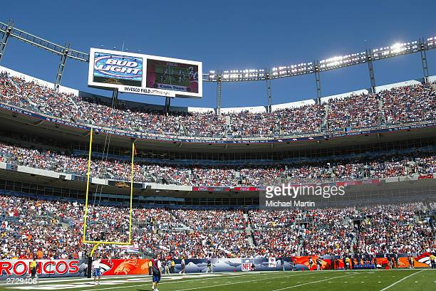 Fans fill the stadium during the game between the Denver Broncos and the Pittsburgh Steelers on October 12 2003 at Invesco Field at Mile High in...