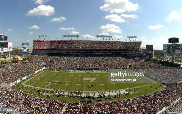 Fans fill the stands as the University of South Florida Bulls host the University of Central Florida Knights at Raymond James Stadium on October 13...