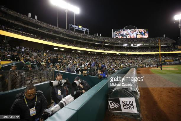 Fans fill the stands during the free game between the Oakland Athletics and the Chicago White Sox at the Oakland Alameda Coliseum on April 17 2018 in...