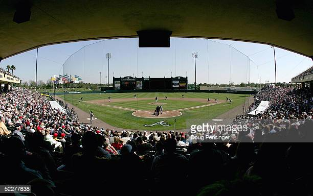 Fans fill the stands on opening day at Disney's Wide World of Sports during the MLB Spring Training game between the Atlanta Braves and Los Angeles...