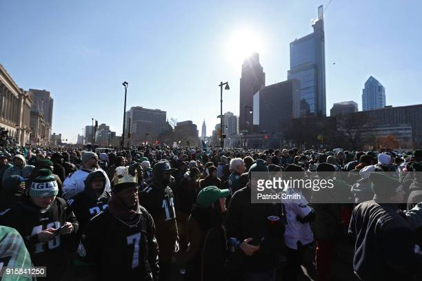 Fans fill the streets as they celebrate with the Philadelphia Eagles during their NFL Super Bowl victory parade on February 8 2018 in Philadelphia...