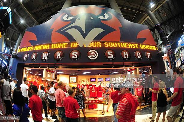Fans fill up the Hawks Shop before watching the Atlanta Hawks face off against the Cleveland Cavaliers for Game One of the Eastern Conference Finals...