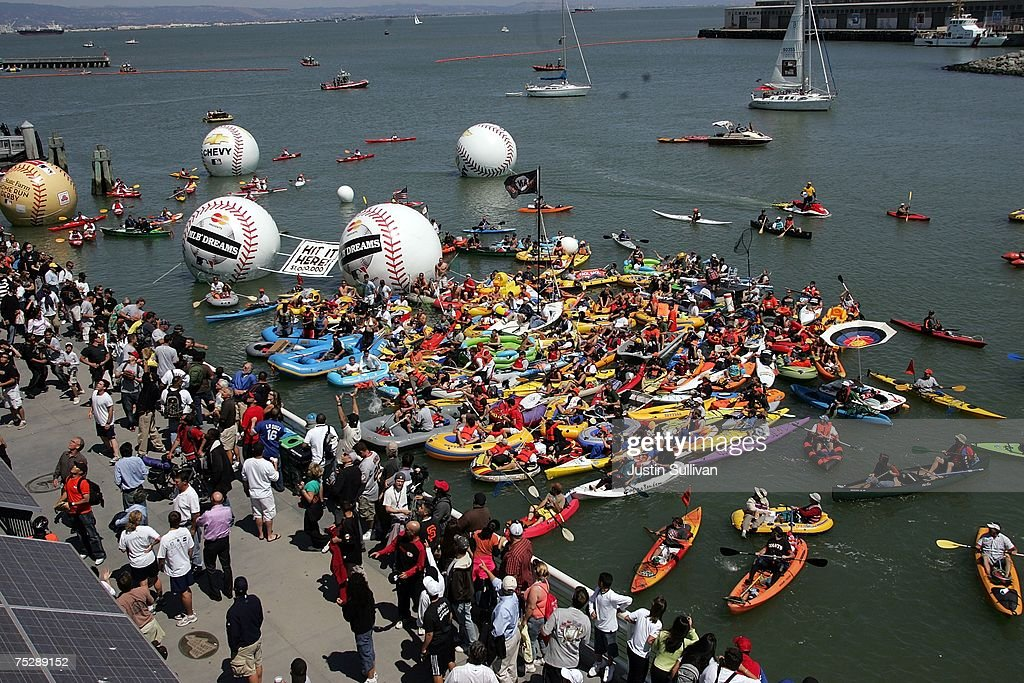 Fans float in McCovey Cove during the 78th Major League Baseball