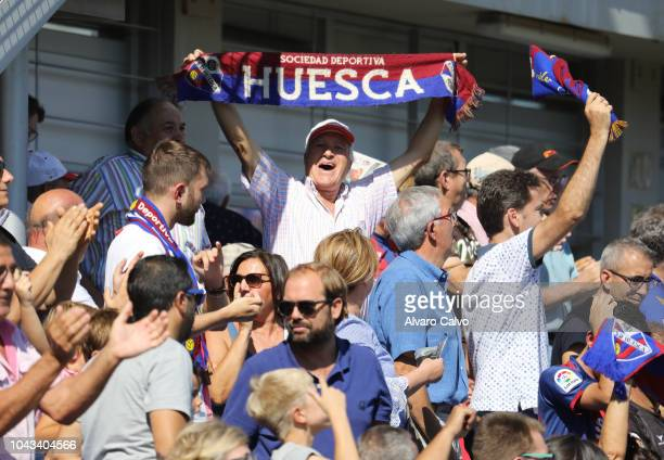 Fans fo of SD Huesca celebrate goal during the La Liga match between SD Huesca and FC Girona at El Alcoraz on September 30 2018 in Huesca Spain