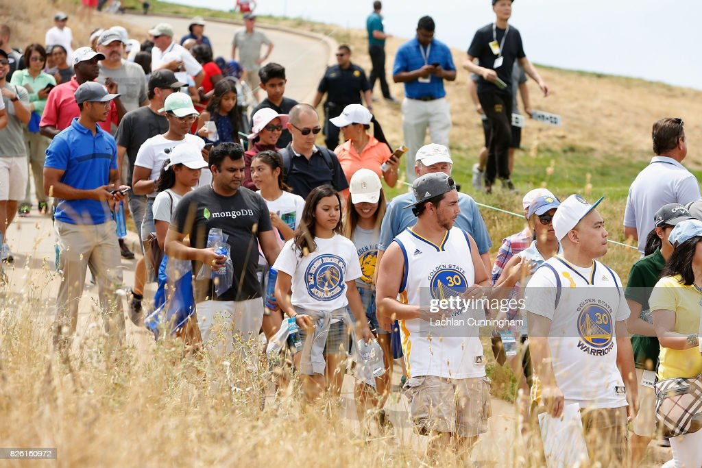 Fans follow Stephen Curry around the course during round one of the Ellie Mae Classic at TCP Stonebrae on August 3, 2017 in Hayward, California.