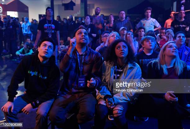 Fans follow the action on a big screen during DreamHack Anaheim featuring Fortnite competition during DreamHack Anaheim 2020 at Anaheim Convention...