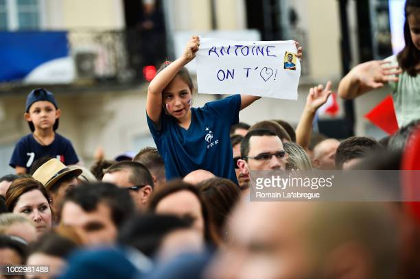 Fans for Antoine Griezmann celebrates France victory in World Cup in his hometown on July 20 2018 in Macon France