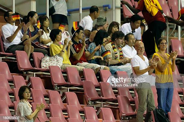 Fans for Germany show their support after the FIFA U20 Women's World Cup Japan 2012 Group D match between Germany and China at Hiroshima Big Arch on...