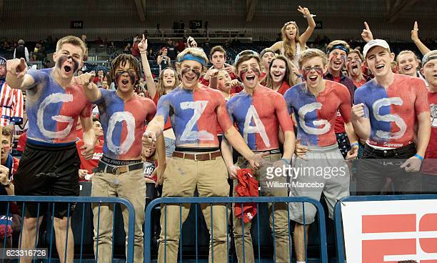 Fans for the Gonzaga Bulldogs cheer for their team against the San Diego State Aztecs at McCarthey Athletic Center on November 14 2016 in Spokane...