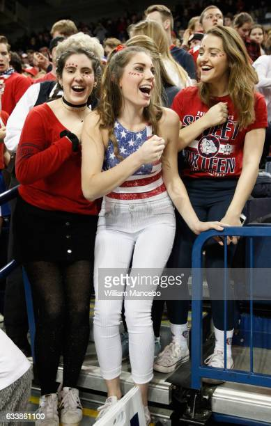 Fans for the Gonzaga Bulldogs cheer for their team against the Santa Clara Broncos at McCarthey Athletic Center on February 4 2017 in Spokane...