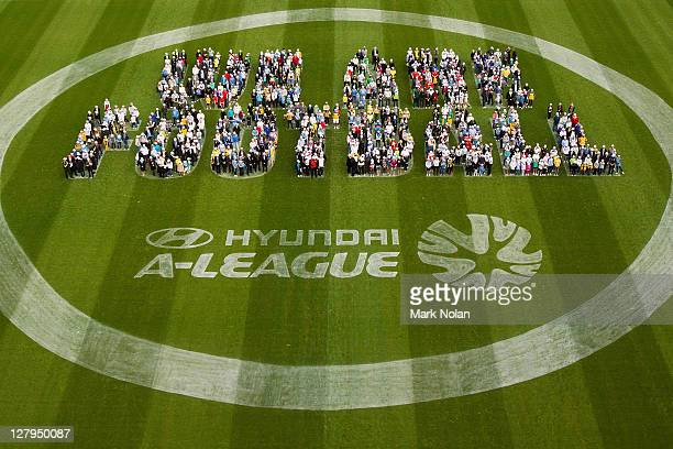 Fans form the words 'We Are Football' on the SFS pitch during the 201112 ALeague season launch at Sydney Football Stadium on October 4 2011 in Sydney...