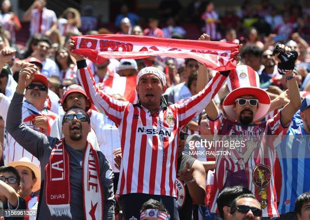 Fans from Chivas de Guadalajara cheer during their 2019 International Champions Cup match against Benfica at the Levi's Stadium in Santa Clara...