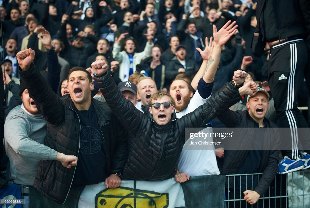 Fans from FC Copenhagen celebrates after the Danish Alka Superliga match between Brondby IF and FC Midtjylland at Brondby Stadion on April 17, 2017 in Brondby, Denmark.