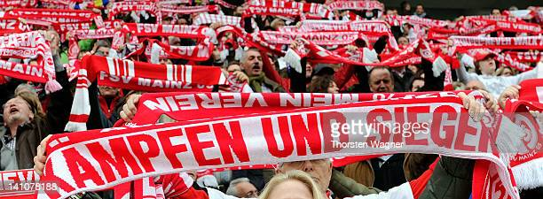 Fans from Mainz 05 are pictured prior to the Bundesliga match between FSV Mainz 05 and 1FC Nuernberg at Coface Arena on March 10 2012 in Mainz Germany