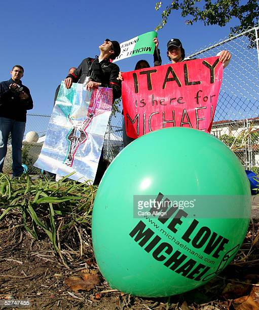 Fans from Milan Italy show their support as they stand outside the Santa Barbara County courthouse for Michael Jackson's trial May 2 2005 in Santa...