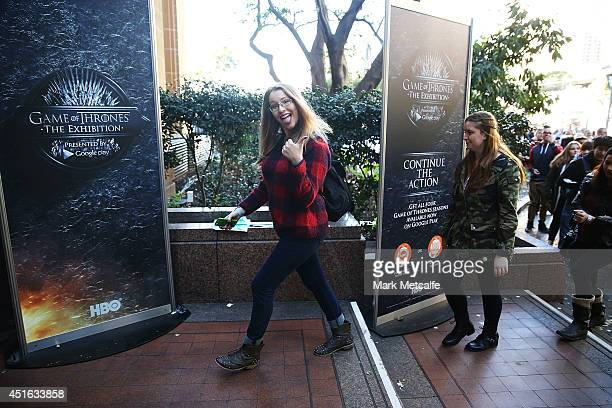 Fans gain entry to the Game of Thrones exhibition at Museum of Contemporary Art on July 3 2014 in Sydney Australia Since the exhibition opened on...