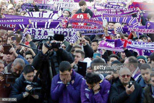 Fans gather ahead of a funeral service for Davide Astori on March 8 2018 in Florence Italy The Fiorentina captain and Italy international Davide...