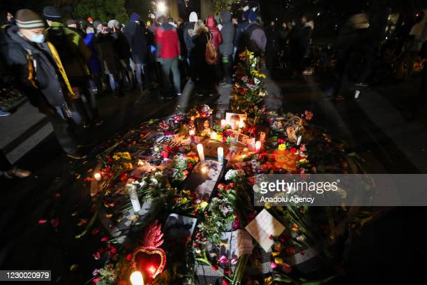 Fans gather and pay tribute to 40th anniversary of John Lennons death at the John Lennon Memorial in Central Park, New York City, United States on...