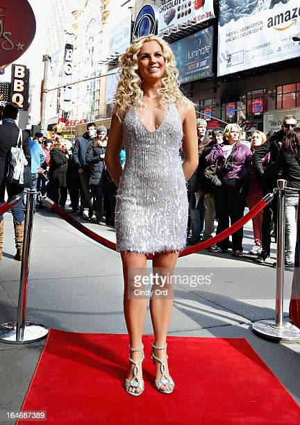 Fans gather as Madame Tussauds New York unveils a new wax figure of Britney Spears on March 26 2013 in New York City